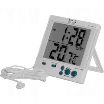 Indoor/Outdoor Thermometers w/Clock